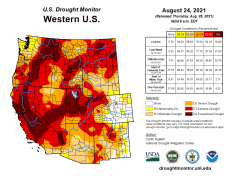 West Drought Monitor August 24, 2021.