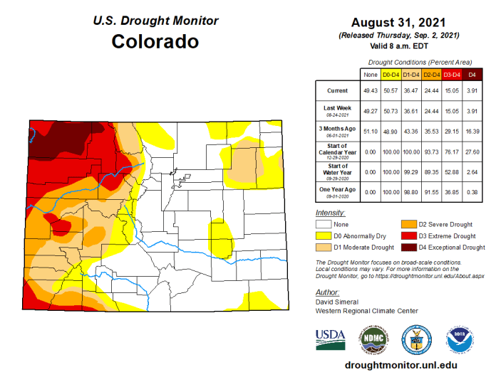 Colorado Drought Monitor map August 31, 2021.