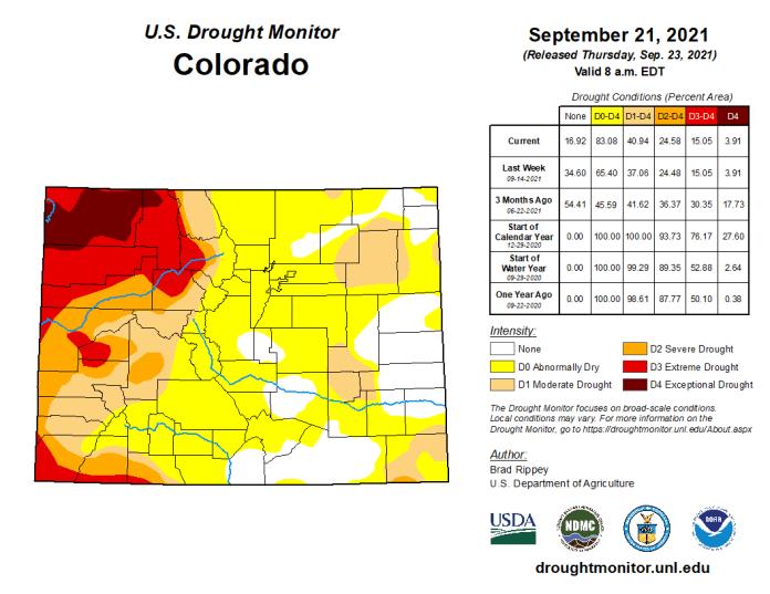 Colorado Drought Monitor map September 21, 2021.