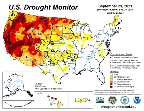 US Drought Monitor map September 21, 2021.