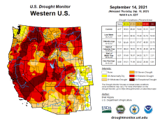 West Drought Monitor map September 21, 2021.