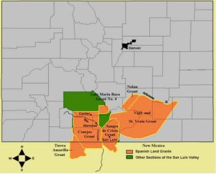 "Fig. 2. Mexican Land Grants in Colorado and New Mexico. The Baumann map depicted here mislabels these Mexican land grants as ""Spanish"". Source: Paul R. Baumann 2001. SUNY-Oneonta."