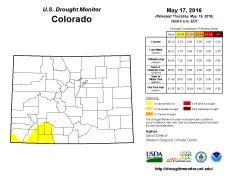 Colorado Drought Monitor May 17, 2016.