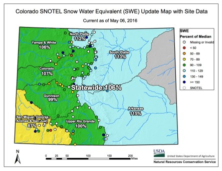 Statewide snowpack map May 6, 2016 via the NRCS.