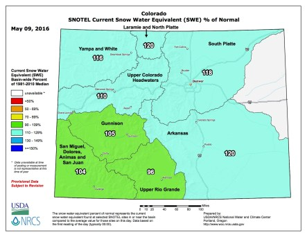 Statewide snowpack map May 9, 2016 via the NRCS.