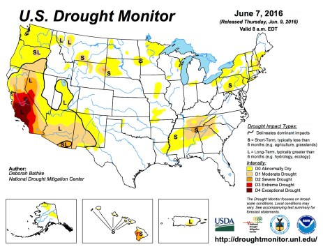 US Drought Monitor June 7, 2016.
