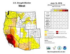 West Drought Monitor June 14, 2016.