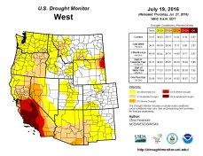 West Drought Monitor July 19, 2016.