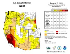 West Drought Monitor August 2, 2016.