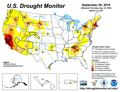 US Drought Monitor September 20, 2016.