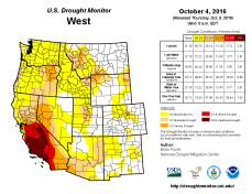 West Drought Monitor October 4, 2016.