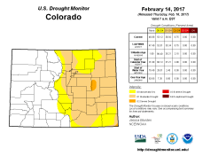 Colorado Drought Monitor February 14, 2017.
