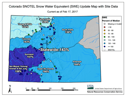 Statewide snowpack February 17, 2017 via the NRCS.