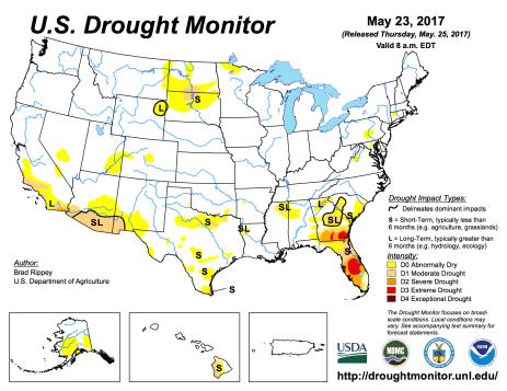 US Drought Monitor May 23, 2017.