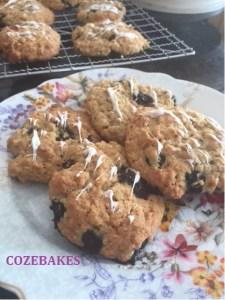 oat cookies, blueberry cookies, cozebakes, healthy cookies, reduced sugar cookies, oat and blueberry cookies