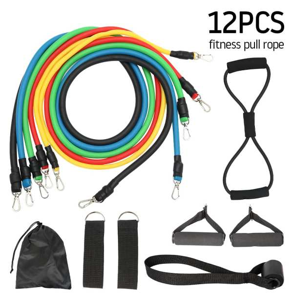11 12pcs Resistance Bands Set Fitness Pull Rope Home Elastic Exercises Body Fitness Workout Latex Tubes