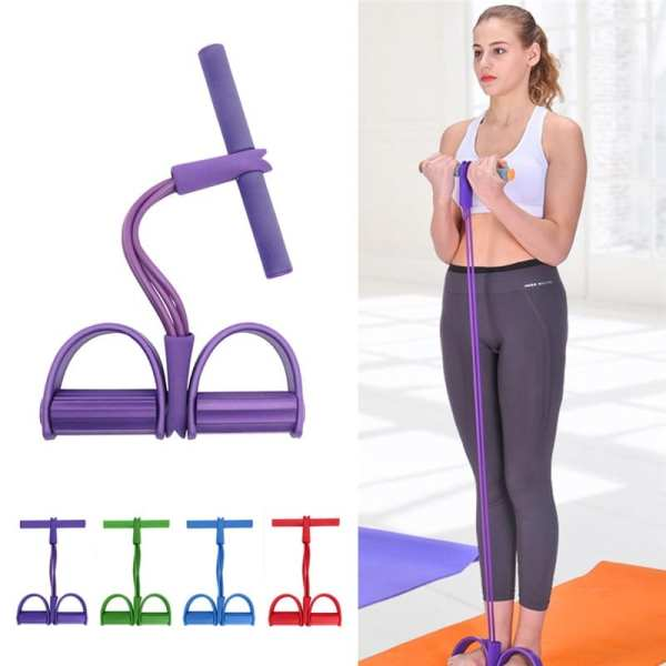 4 Tube Resistance Bands Latex Pedal Exerciser Sit up Pull Rope Elastic Bands Yoga Fitness Equipment