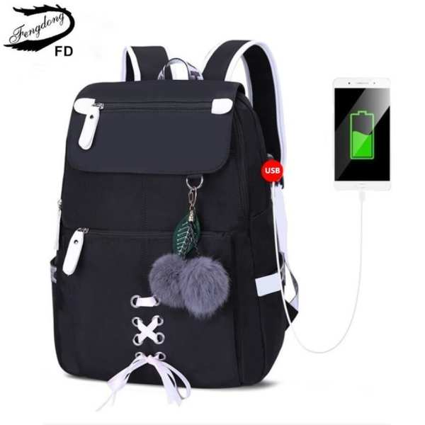 FengDong kids school backpack for girls school bags women shoulder bag fur ball bowknot backpacks for