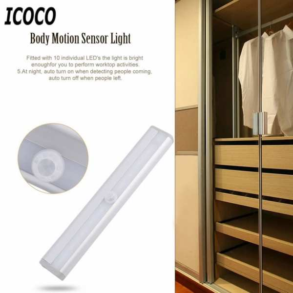 ICOCO High Bright TDL 7120 10 LED IR Infrared Motion Detector Wireless Sensor Lighting Closet Night