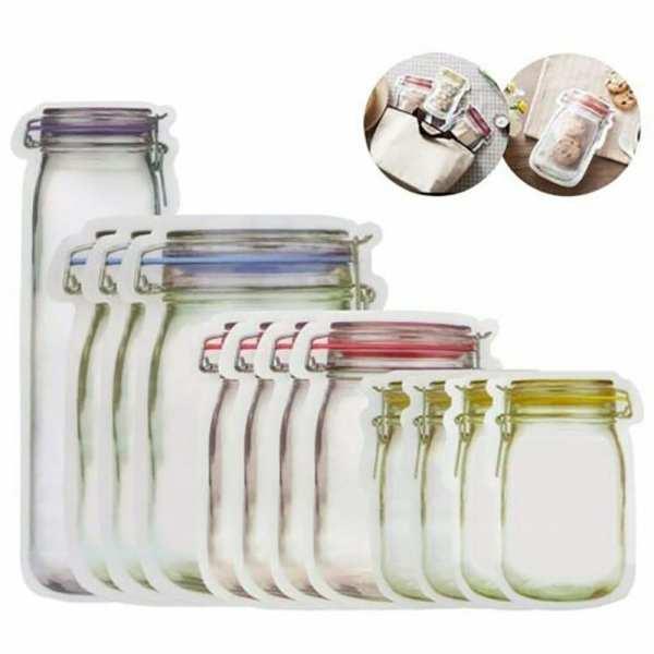 Reusable Mason Jar Bottles Bags Ziplock Cookies Bag Snack Food Sealing Storage Bag Fridge Organizer Portable