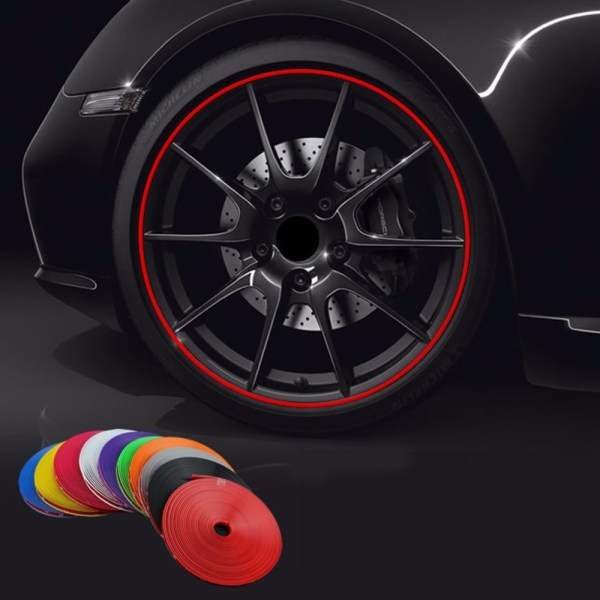 8M Roll Rimblades Car Vehicle Color Wheel Rims Protectors Decor Strip Tire Guard Line Rubber Moulding
