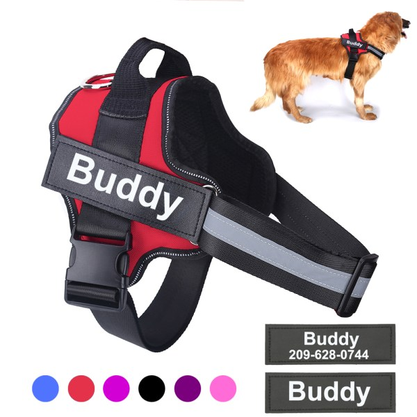 Personalized Dog Harness NO PULL Reflective Breathable Adjustable Pet Harness with ID Custom Patch Outdoor Walking 6