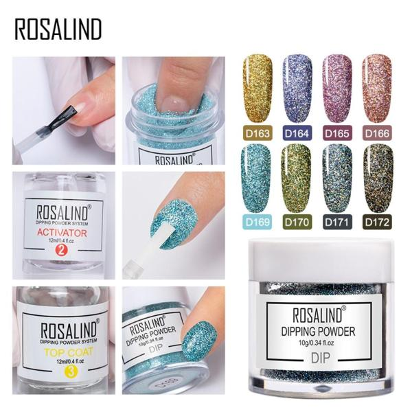 Rosalind Shiny Nail Glitter Set Powder Laser Sparkly Manicure Nail Art Chrome Pigment Silver DIY Nail