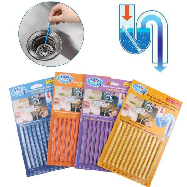 12Pcs set Sani Sticks sewage decontamination to deodorant The kitchen toilet bathtub drain cleaner sewer cleaning