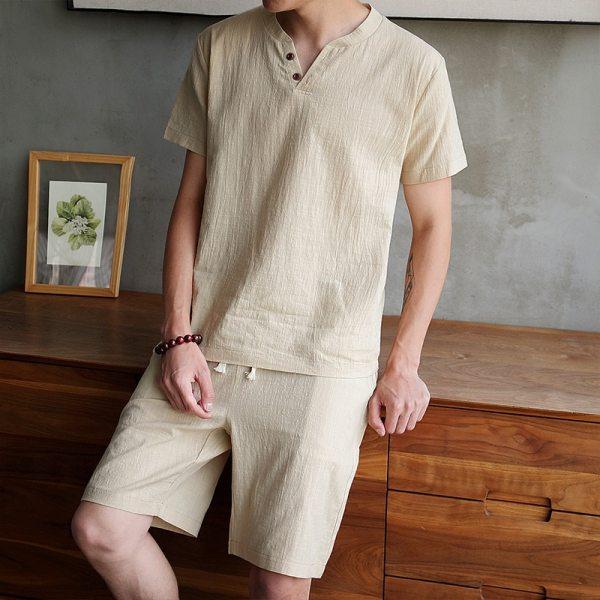 2020 Men Casual Set Fashion 2 PCS Sweat Suit Short Sleeve T shirt Shorts Sets Male