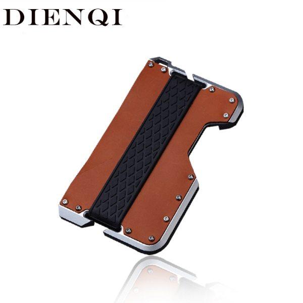 DIENQI New Genuine Leather Card Holder Men Aluminum Metal RFID Blocking Credit Card Holder Slim Minimalist