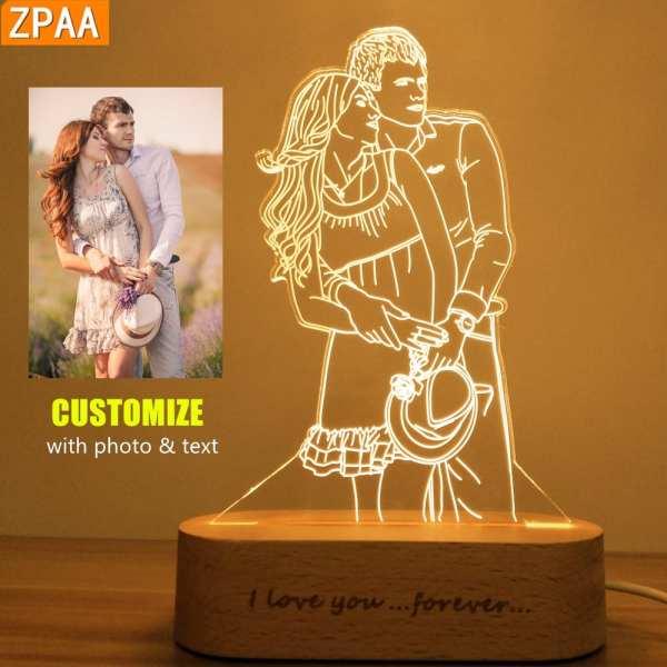 Photo Customized 3D Night Light USB DIY Night Lamp Custom Nightlight For Wedding Christmas Gift Holiday