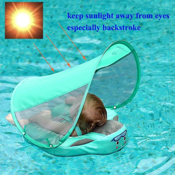 UPF 50 Mambo baby swim float swimming ring UV protection baby floating with canopy no need