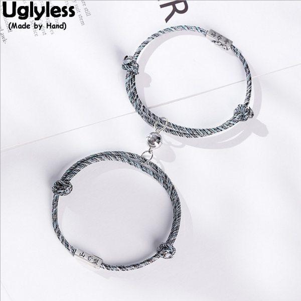 Uglyless 1 pair Lovers Infinity Rope Bracelets Lotus Charms Creative Magnet Bracelet 925 Sterling Silver Jewelry