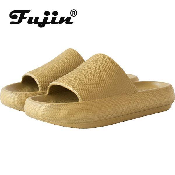fujin Women Men Slippers Platform Soft PU Leather Shoes Comfy Platform Flat Sole Ladies Casual Soft