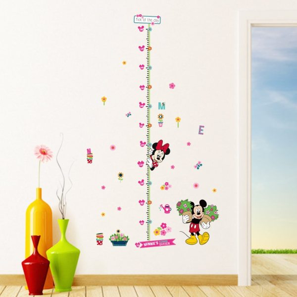 minnie mickey growth chart wall stickers for kids room cartoon flower height measure chart mural art