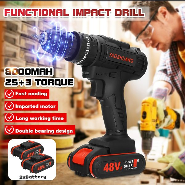 2 Battery 48V 3 8 Cordless Rechargeable Electric Drill 2 Speed Impact Hammer Driver Battery Drill
