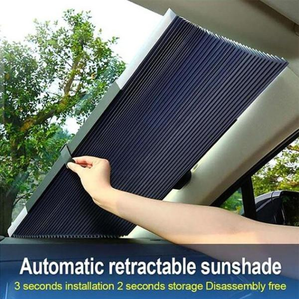 Automatic Retractable Car Front Rear Windshield Sunshade Anti Sun Heat Insulation Blinds car interior protection car