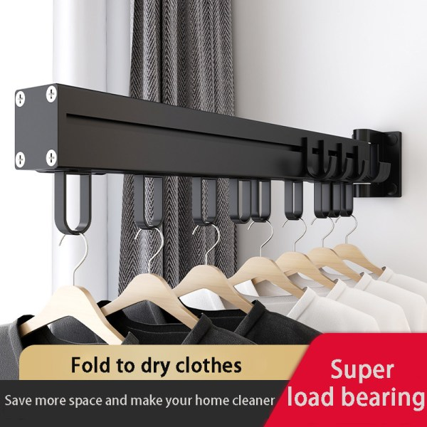 Black Folding Drying Rack Wall Mounted Telescopic Clothes Rack Indoor And Outdoor Simple Clothes Hanger Clothes