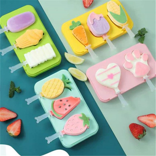 DIY Homemade Ice Cream Molds Reusable Ice Cubes Tray Silicone DIY Popsicle Mold Making Tool Christmas