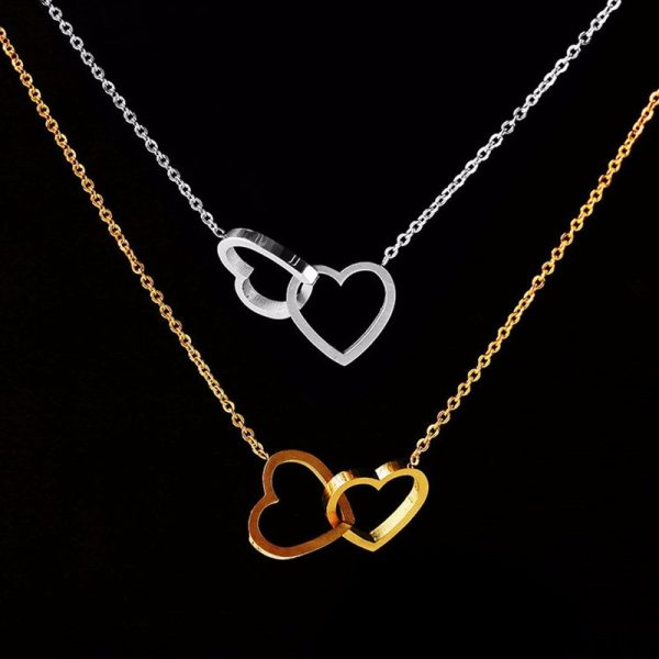 Double Heart Statement Necklace for Women Gold Stainless Steel Link Chian Wedding Jewelry Bijoux Femme Collier
