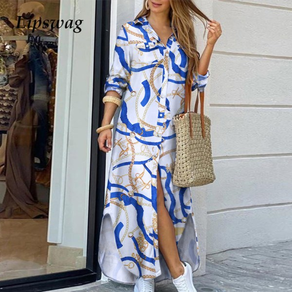 Elegant Letter Print Women Long Dress 2020 Spring Summer Long Sleeve Maxi Dress Casual Female Button