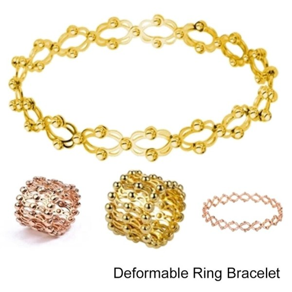New Arrival Personality Gold Silver Color Elastic Multiple Rows Rings For Women Dual use 2 in