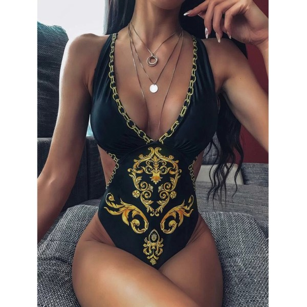 bikini 2020 Women s Sexy Baroque Print Criss Cross Monokini Swimsuit Swimwear Beach Wear One Piece
