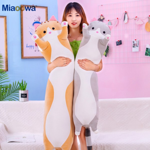 130cm Cute Soft Long Cat Pillow Plush Toys Stuffed Pause Office Nap Pillow Bed Sleep Pillow
