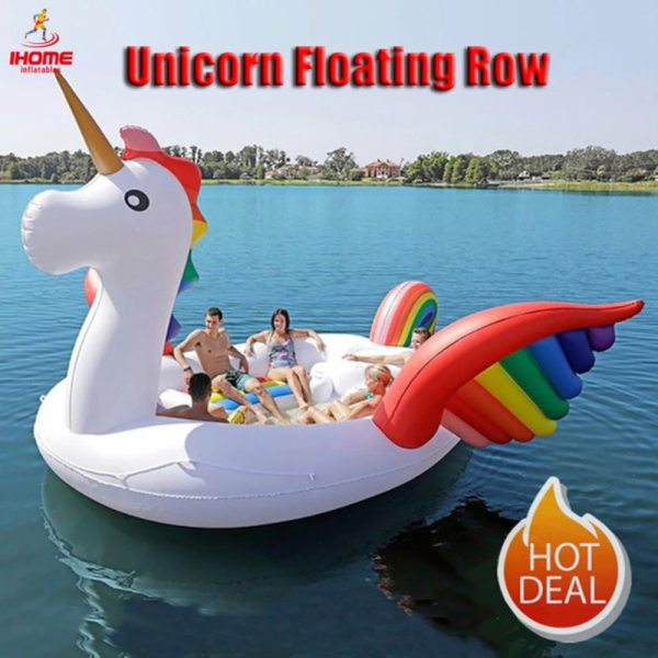 Factory directly sales PVC Giant Inflatable Unicorn Float Party Bird Island Big animal boat for 6