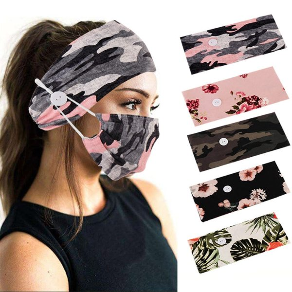Unisex Camouflage Printed Hairband With Button Protect Ears Fashion Stretch Hair Accessories