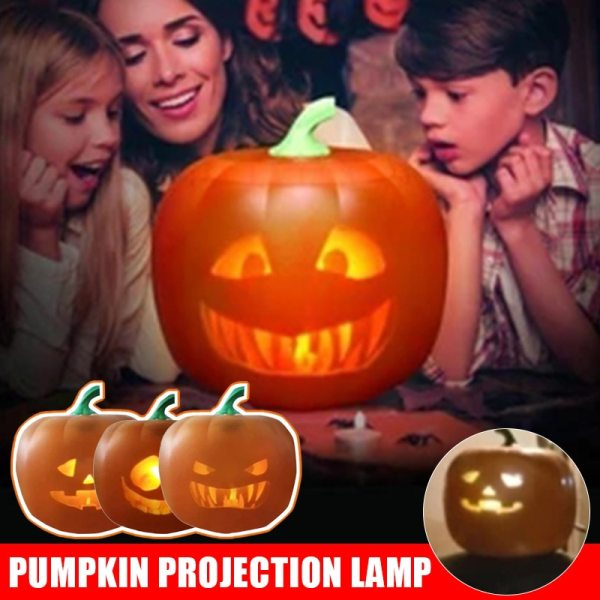 Spot Halloween Flash Talking Animated LED Pumpkin Projection Lamp for Halloween Home Party Pumpkin Lantern Home