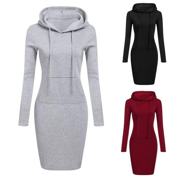 Slim Casual Pullover Hoodie Dress