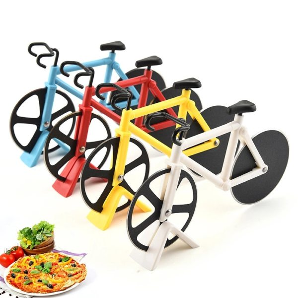 Bike Pizza Cutter Knives Non stick Two wheel Bicycle Shape Pizza Cutting Knife With Holder Stainless