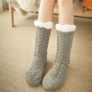 Glglgege twist stripes Winter Women Socks Women Non slip Adult Floor Socks Indoor Warm Shoes Soft 40.jpg 640x640 40
